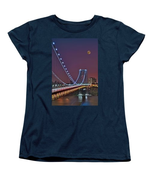 Moon Rise Over The George Washington Bridge Women's T-Shirt (Standard Cut) by Susan Candelario