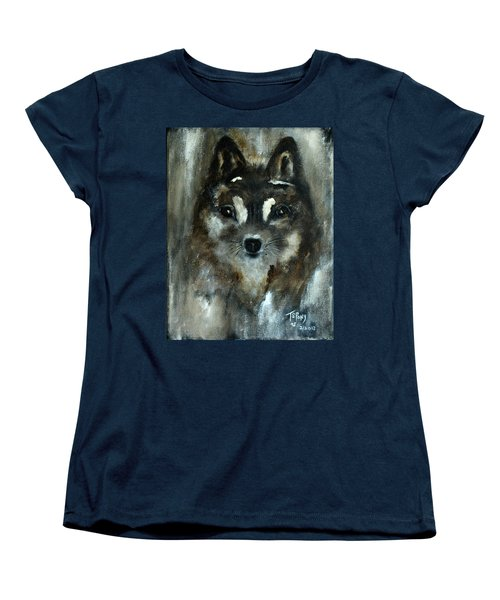 Women's T-Shirt (Standard Cut) featuring the painting Moon Shadow The Baby Fox by Barbie Batson