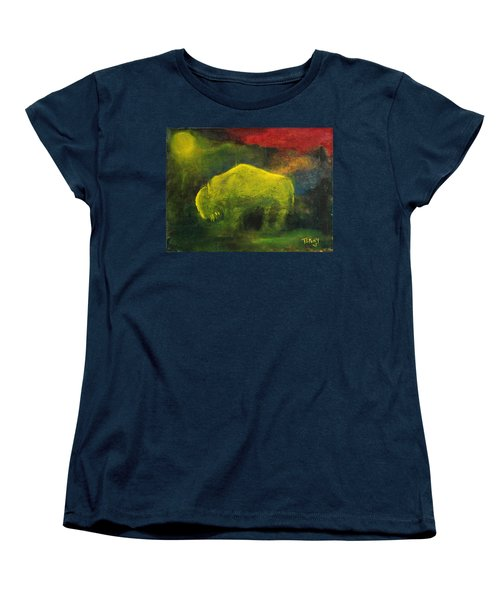 Women's T-Shirt (Standard Cut) featuring the painting Moonlight Buffalo by Barbie Batson