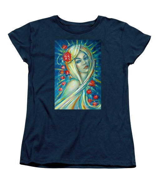 Women's T-Shirt (Standard Cut) featuring the painting Moonlight Flowers 030311 by Selena Boron