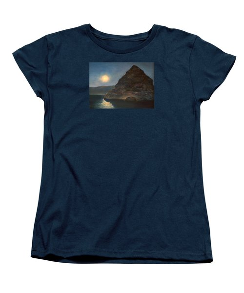Women's T-Shirt (Standard Cut) featuring the painting Moonlight On Pyramid Lake by Donna Tucker