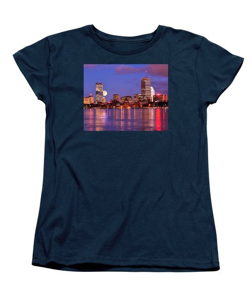 Moonlit Boston On The Charles Women's T-Shirt (Standard Cut) by Mitchell R Grosky