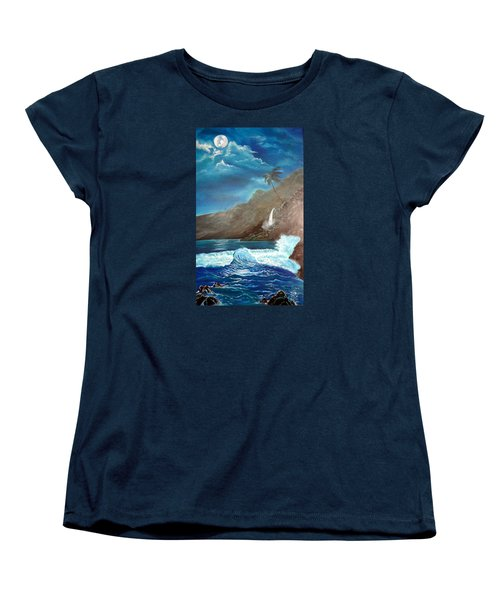 Women's T-Shirt (Standard Cut) featuring the painting Moonlit Wave by Jenny Lee