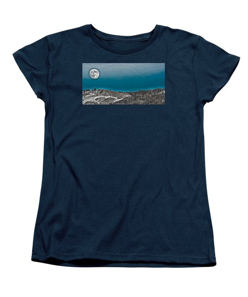 Women's T-Shirt (Standard Cut) featuring the photograph Moonrise Over The Mountain by Don Schwartz