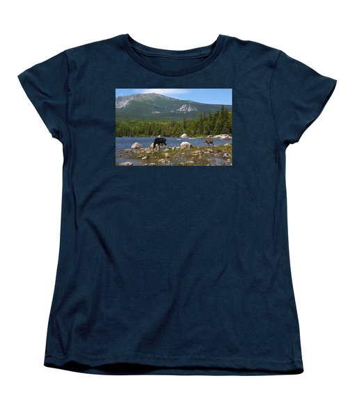 Moose Baxter State Park Maine Women's T-Shirt (Standard Cut) by Glenn Gordon