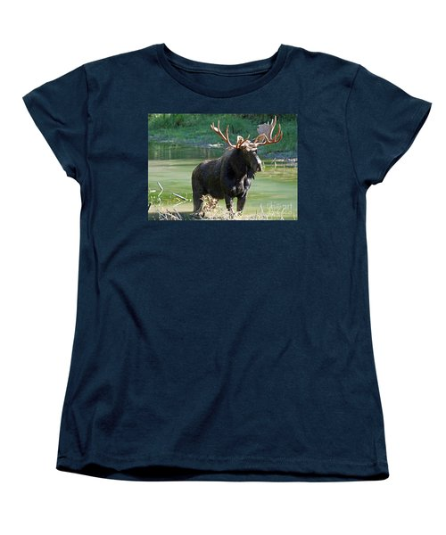 Moose Country Women's T-Shirt (Standard Cut) by Bob Hislop