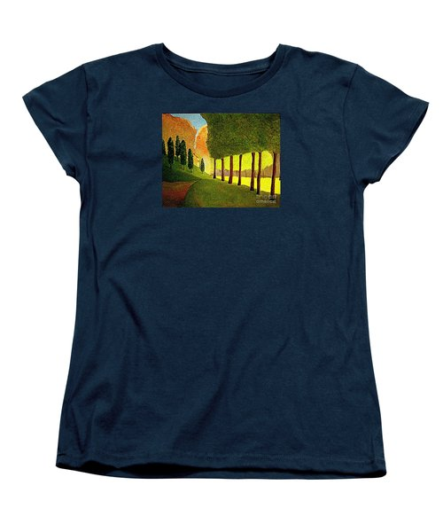 Women's T-Shirt (Standard Cut) featuring the painting Chambord Morning By Bill O'connor by Bill OConnor