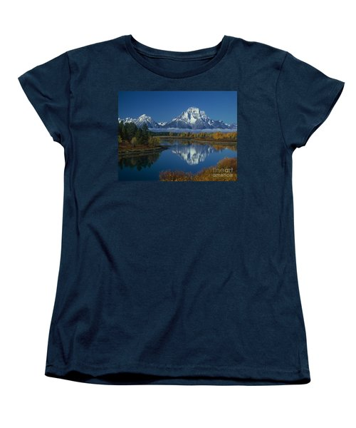 Morning Cloud Layer Oxbow Bend In Fall Grand Tetons National Park Wyoming Women's T-Shirt (Standard Cut) by Dave Welling