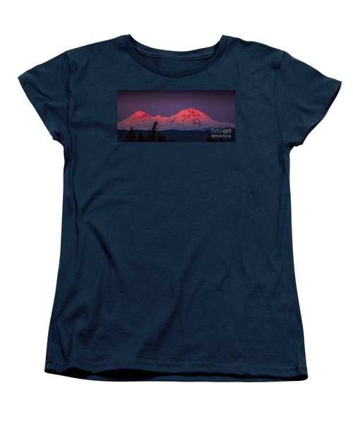 Morning Dawn On Two Of Three Sisters Mountain Tops In Oregon Women's T-Shirt (Standard Cut) by Jerry Cowart
