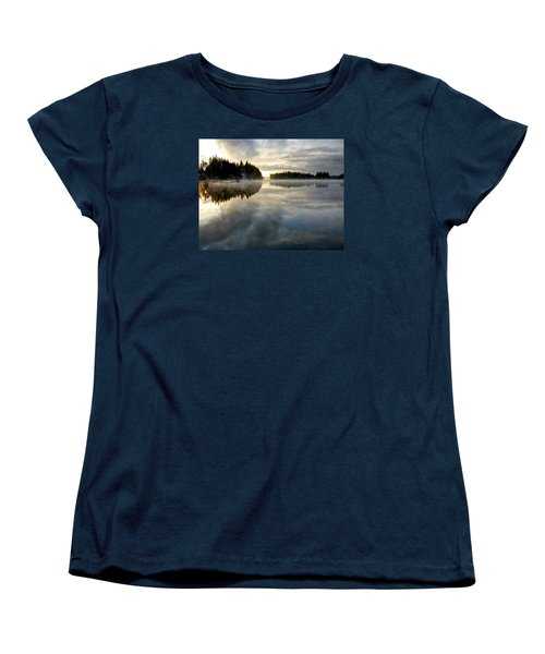 Women's T-Shirt (Standard Cut) featuring the photograph Morning Lake Reflection by Peter Mooyman