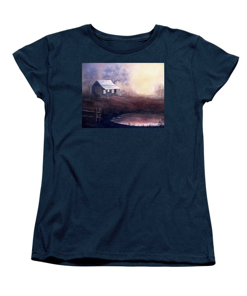 Women's T-Shirt (Standard Cut) featuring the painting Morning Reflections by Hazel Holland