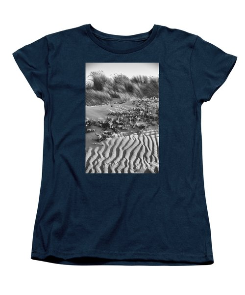 Morro Beach Textures Bw Women's T-Shirt (Standard Cut) by Terry Garvin
