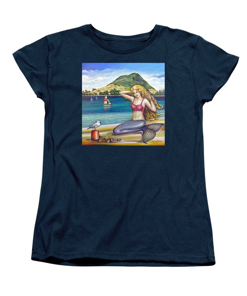 Women's T-Shirt (Standard Cut) featuring the painting Mount Maunganui Beach Mermaid 160313 by Selena Boron