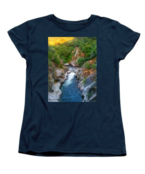 Women's T-Shirt (Standard Cut) featuring the painting Mountain Stream by Bruce Nutting
