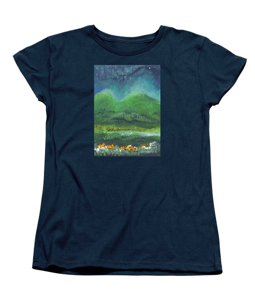 Women's T-Shirt (Standard Cut) featuring the painting Mountains At Night by Holly Carmichael