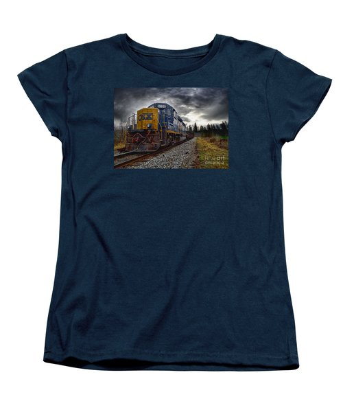 Women's T-Shirt (Standard Cut) featuring the photograph Moving Along In A Train Engine by Melissa Messick