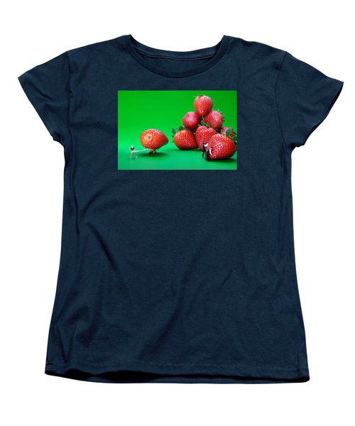 Women's T-Shirt (Standard Cut) featuring the photograph Moving Strawberries To Depict Friction Food Physics by Paul Ge