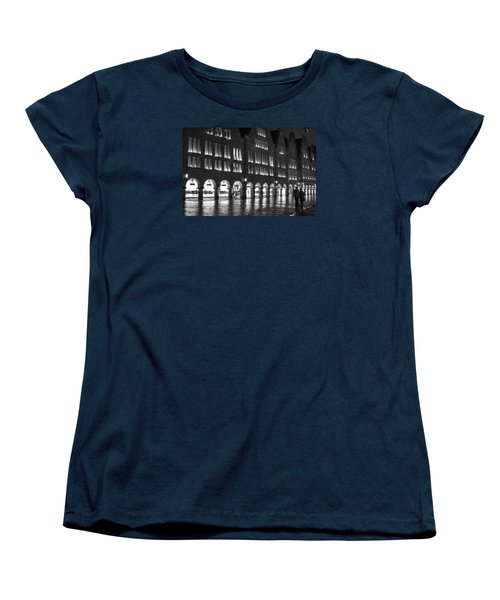 Cobblestone Night Walk In The Town Women's T-Shirt (Standard Cut) by Miguel Winterpacht