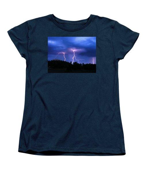 Women's T-Shirt (Standard Cut) featuring the photograph Multi Arc Lightning Strike by Craig T Burgwardt