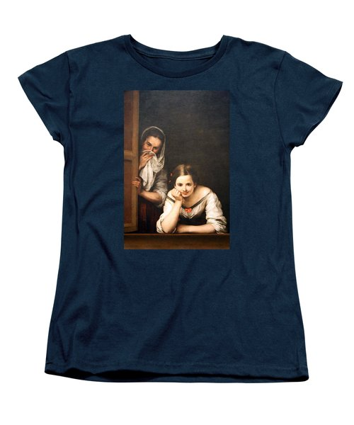 Murillo's Two Women At A Window Women's T-Shirt (Standard Cut) by Cora Wandel
