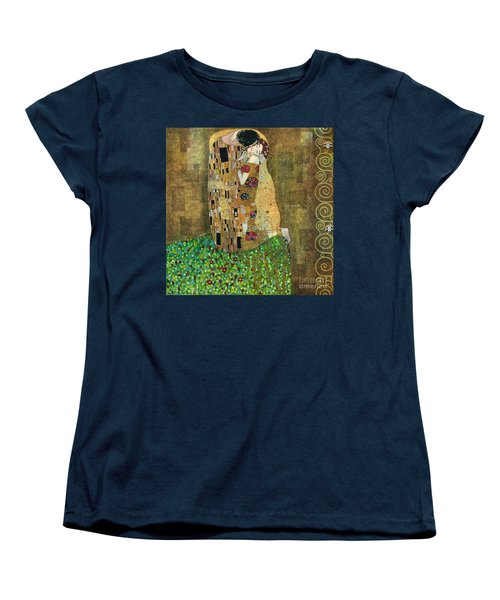 My Acrylic Painting As An Interpretation Of The Famous Artwork Of Gustav Klimt The Kiss - Yakubovich Women's T-Shirt (Standard Cut) by Elena Yakubovich