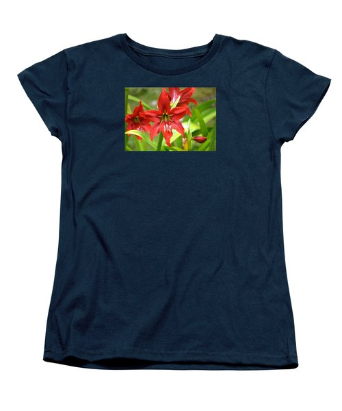 My Red Daylily...after The Rain Women's T-Shirt (Standard Cut) by Lehua Pekelo-Stearns