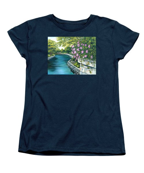 Women's T-Shirt (Standard Cut) featuring the painting Naperville Riverwalk by Debbie Hart