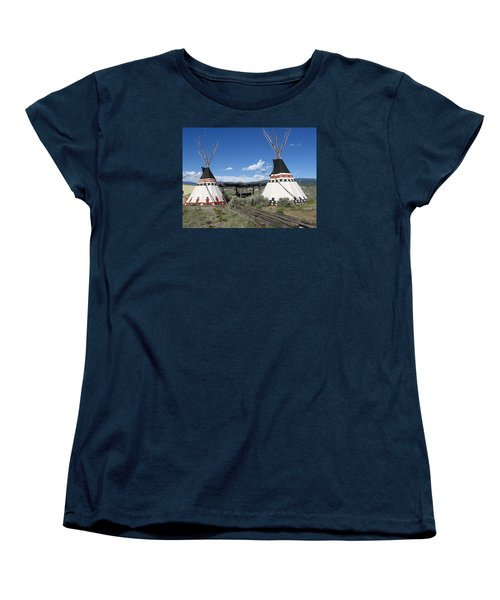 Women's T-Shirt (Standard Cut) featuring the photograph Native American Teepees by Dora Sofia Caputo Photographic Art and Design