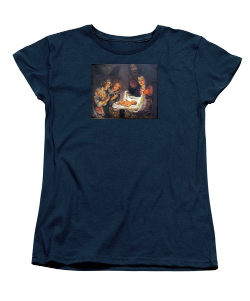 Women's T-Shirt (Standard Cut) featuring the painting Nativity Scene Study by Donna Tucker