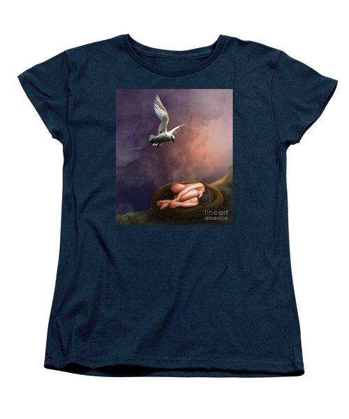 Women's T-Shirt (Standard Cut) featuring the digital art Nesting Woman by Rosa Cobos
