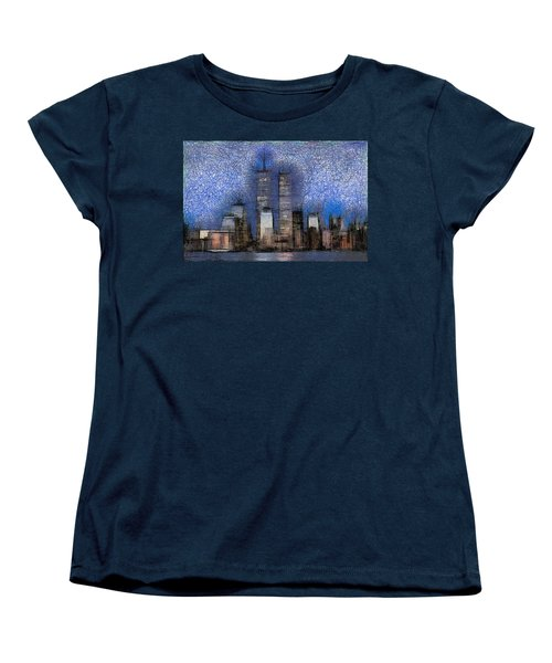 New York City Blue And White Skyline Women's T-Shirt (Standard Cut) by Georgi Dimitrov
