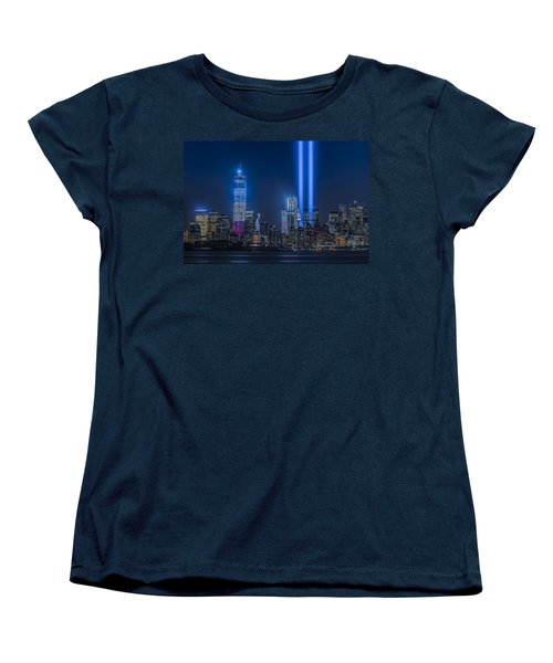 New York City Tribute In Lights Women's T-Shirt (Standard Cut) by Susan Candelario