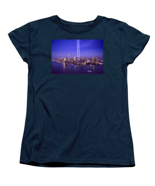Women's T-Shirt (Standard Cut) featuring the photograph New York City Tribute In Lights World Trade Center Wtc Manhattan Nyc by Jon Holiday