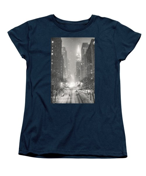 New York City - Winter Night Overlooking The Chrysler Building Women's T-Shirt (Standard Cut) by Vivienne Gucwa