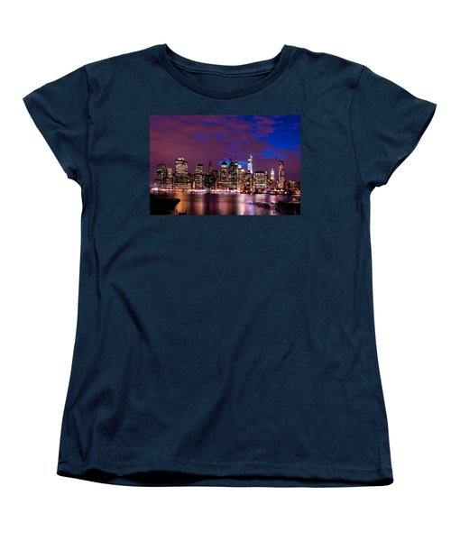 New York Skyline Magic Hour-- From Brooklyn Heights Promenade Women's T-Shirt (Standard Cut) by Mitchell R Grosky