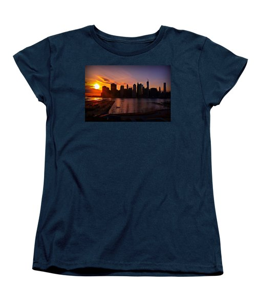 Women's T-Shirt (Standard Cut) featuring the photograph New York Skyline Sunset -- From Brooklyn Heights Promenade by Mitchell R Grosky