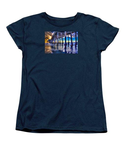 Women's T-Shirt (Standard Cut) featuring the photograph Newport Beach Pier - Low Tide by Jim Carrell