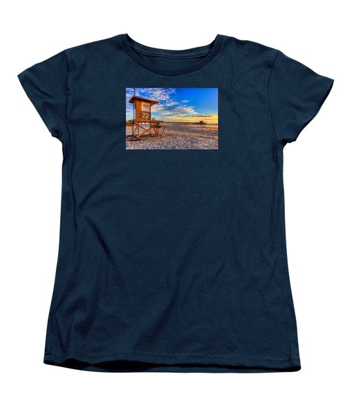 Newport Beach Pier - Wintertime  Women's T-Shirt (Standard Cut) by Jim Carrell