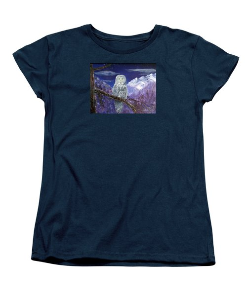 Women's T-Shirt (Standard Cut) featuring the painting Night Hunter by Lee Piper