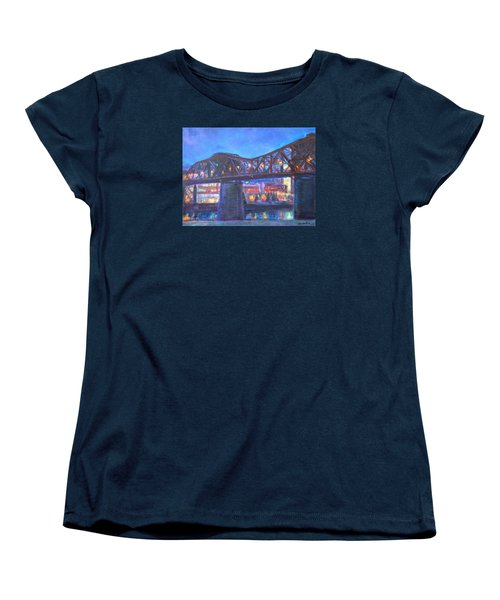 City At Night Downtown Evening Scene Original Contemporary Painting For Sale Women's T-Shirt (Standard Cut) by Quin Sweetman