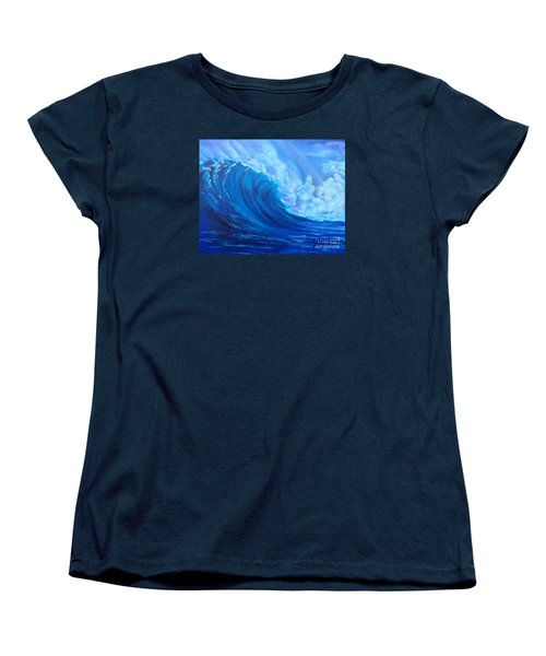Women's T-Shirt (Standard Cut) featuring the painting Wave V1 by Jenny Lee