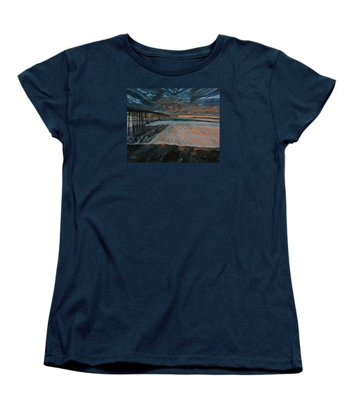 Women's T-Shirt (Standard Cut) featuring the painting North Side Of The Ventura Pier by Ian Donley
