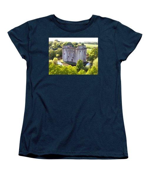 Nunney Castle Painting Women's T-Shirt (Standard Cut) by Ron Harpham