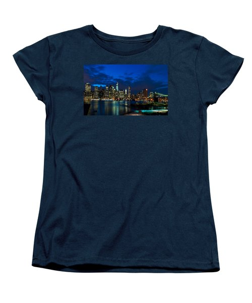 Ny Skyline From Brooklyn Heights Promenade Women's T-Shirt (Standard Cut) by Mitchell R Grosky