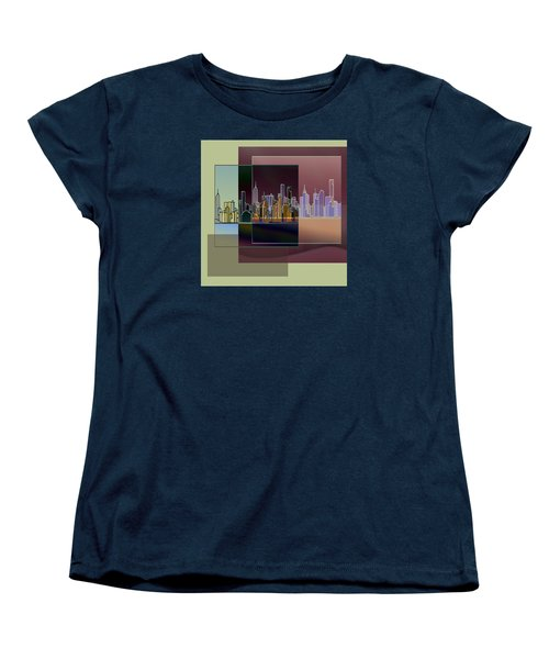 Women's T-Shirt (Standard Cut) featuring the digital art Nyc Abstract-3 by Nina Bradica