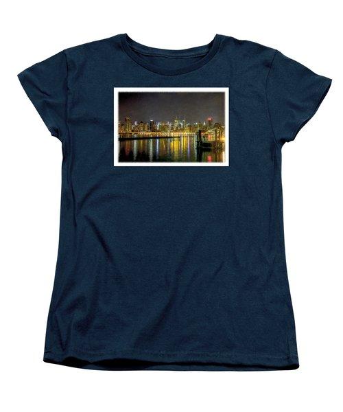 Nyc At Night Faux Oil Women's T-Shirt (Standard Cut)