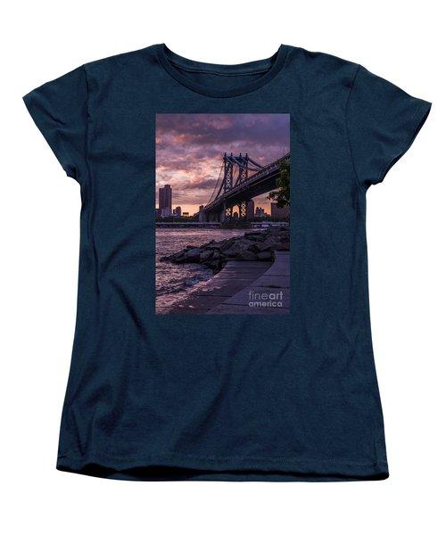 Nyc- Manhatten Bridge At Night Women's T-Shirt (Standard Cut) by Hannes Cmarits