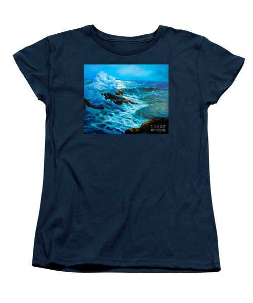 Women's T-Shirt (Standard Cut) featuring the painting Ocean Deep by Jenny Lee