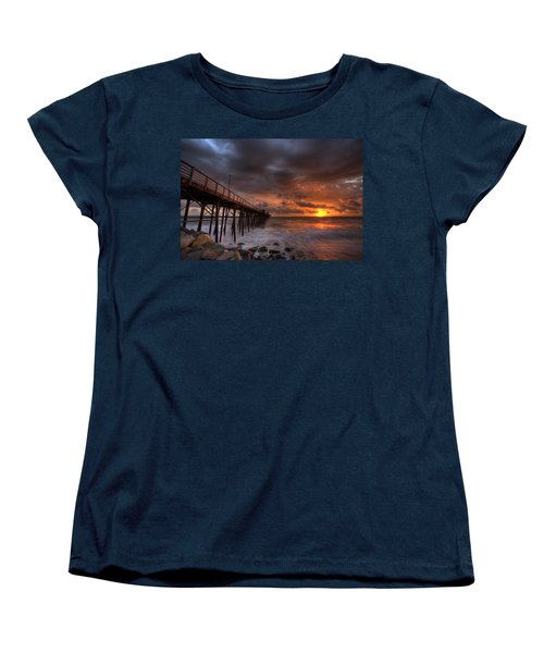 Oceanside Pier Perfect Sunset Women's T-Shirt (Standard Cut) by Peter Tellone