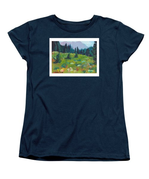 Women's T-Shirt (Standard Cut) featuring the painting Off The Trail by C Sitton